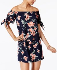 One Clothing Juniors' Off The Shoulder Shift Dress Navy Multi