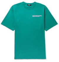 Calvin Klein 205W39nyc Oversized Embroidered Distressed Cotton Jersey T Shirt Turquoise