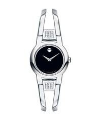 Movado Ladies Amarosa Stainless Steel Diamond Accent Bangle Bracelet Watch Silver