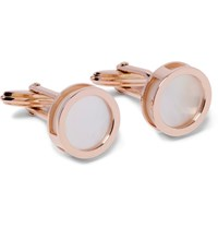 Lanvin Interchangeable Rose Gold Plated Mother Of Pearl And Onyx Cufflinks Rose Gold