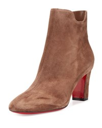 Christian Louboutin Tiagadaboot Suede 70Mm Red Sole Bootie Chatain Brown