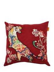 Etro Etaples Embroidered Wool Blend Pillow Red Multi