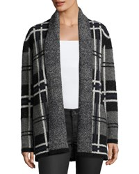 Soft Joie Shyah Plaid Open Front Cardigan Sweater Gray