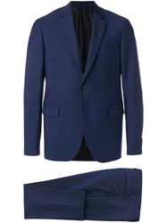Versace Classic Checked Suit Blue