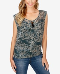 Lucky Brand Sheer Floral Print Top Green Multi