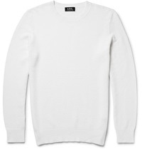 A.P.C. Waffle Knit Cotton And Cashmere Blend Sweater White