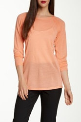 Eileen Fisher Crew Neck Merino Wool Pointelle Sweater Orange