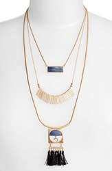 Danielle Nicole Layered Fringe Lapis Necklace Gold Blue Lapis