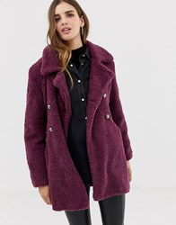 Qed London Double Breasted Maxi Teddy Coat Purple