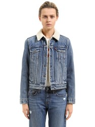 Levi's Faux Shearling And Cotton Denim Jacket Light Blue
