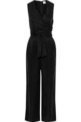 Iris And Ink Woman Aurora Wrap Effect Washed Twill Jumpsuit Black