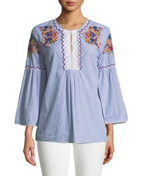 Chelsea And Theodore Embroidered Bell Sleeve Tunic Blue White