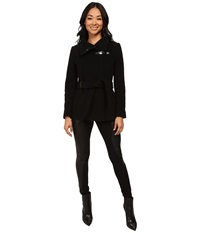 Cole Haan Belted Double Breasted Jacket With Snap Black Women's Coat