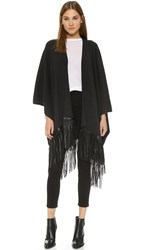 Vince Luxe Poncho With Leather Fringe H. Carbon