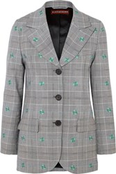 Alexachung Embroidered Checked Wool Blend Blazer Gray Gbp