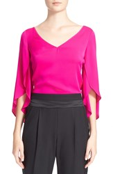 Milly Butterfly Sleeve V Neck Top Fluorescent Pink