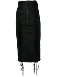 Ktz Lace Up Skirt Cotton Black