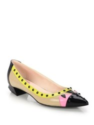 Fendi Bug Studded Leather Point Toe Flats Pink Blue Pink Grat