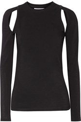 Dkny Cutout Stretch Cotton Jersey Top Black