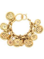 Chanel Vintage Button Charm Bracelet Yellow And Orange