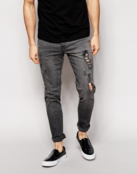 Asos Skinny Jeans With Extreme Rips Grey