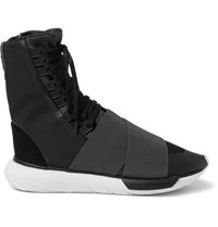 Y 3 Qasa Suede Trimmed Elastic And Mesh High Top Sneakers Charcoal