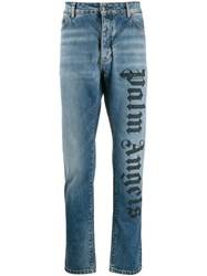 Palm Angels Branded Straight Jeans Blue