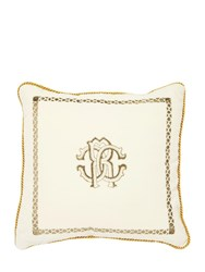 Roberto Cavalli Venezia Printed Cotton And Silk Pillow White