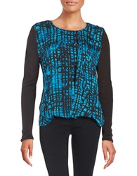 Dkny Pattern Wrap Front Blouse Peacock