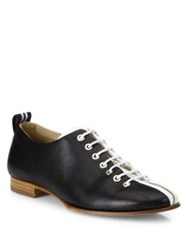 Rag And Bone Alley Striped Web Leather Oxfords Black