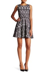 Want And Need Sleeveless New Lace Fused Skater Dress Black