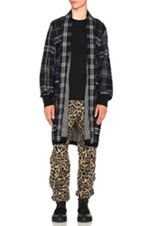 Sacai Plaid Robe Jacket In Black Gray Checkered And Plaid