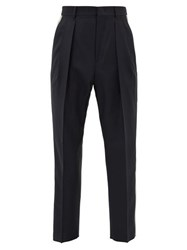 Valentino Side Striped Box Pleated Wool Blend Trousers Navy