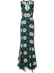 Zac Posen April Floral Crochet Gown Green