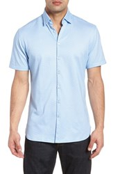 Stone Rose Contemporary Fit Geo Tech Sport Shirt Turquoise