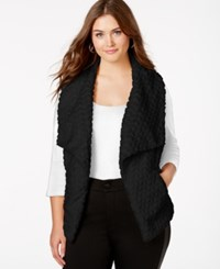 Joujou Jou Jou Plus Size Textured Faux Fur Shawl Vest Black