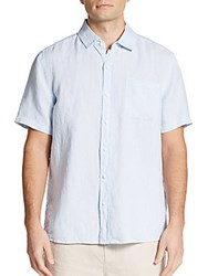 Saks Fifth Avenue Classic Fit Linen Short Sleeve Sportshirt Light Blue