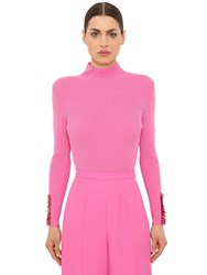 Delpozo Wool Rib Knit Sweater W Sequined Cuffs Fuchsia