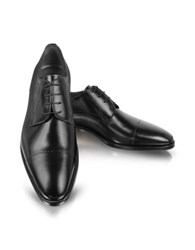Moreschi Black Leather Cap Toe Derby Shoes