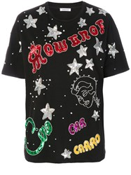 P.A.R.O.S.H. Sequin Embellished T Shirt Cotton Pvc Xs Black