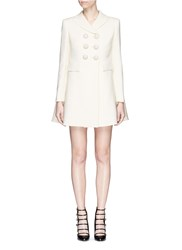 Alexander Mcqueen Enamelled Flower Button Wool Silk Double Breasted Coat White
