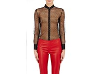 Saint Laurent Women's Polka Dot Tulle Sheer Tuxedo Blouse Black
