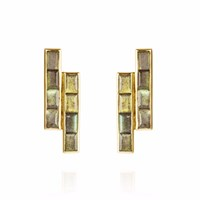 Neola Equilibrium Gold Earrings With Labradorite