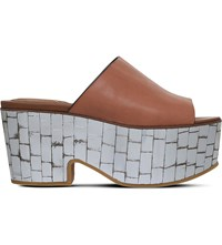 See By Chloe Arina Leather And Metallic Wedge Platform Mules Tan