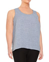 Lord And Taylor Plus Striped Linen Tank Top True Blue