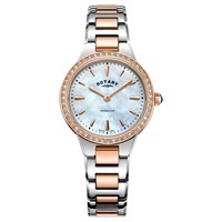 Rotary Women's Kensington Pave Set Bracelet Strap Watch Silver Rose Gold