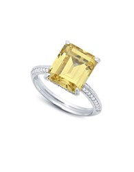 Crislu In Vogue Handset Canary Sterling Silver Ring