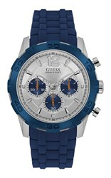 Guess W0864g6 Men S Silicone Sports Watch Blue