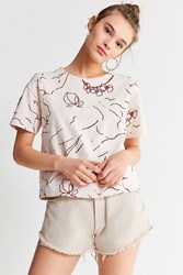 Urban Outfitters Uo Faye Embroidered Tee Ivory