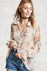 Forever 21 Contemporary Floral Print Shirt Vanilla Coral